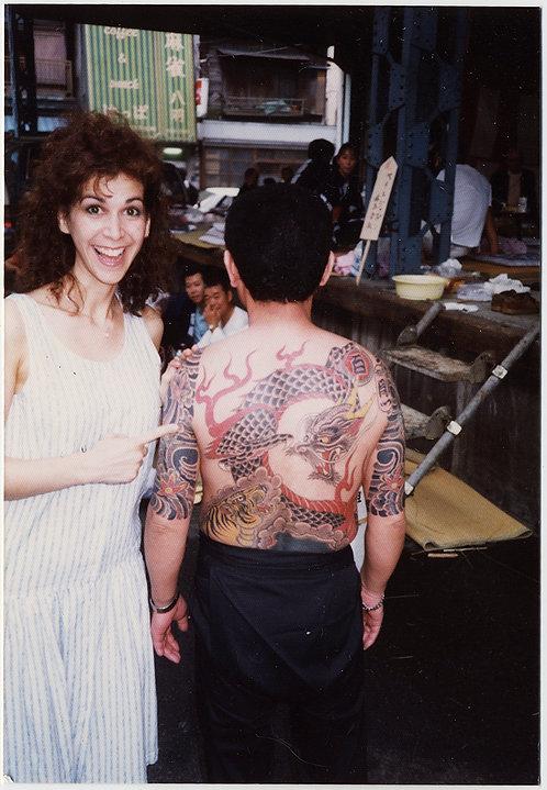 WHITE WOMAN POINTS to ASIAN MAN's AMAZING DRAGON FULL BACK BODY TATTOO