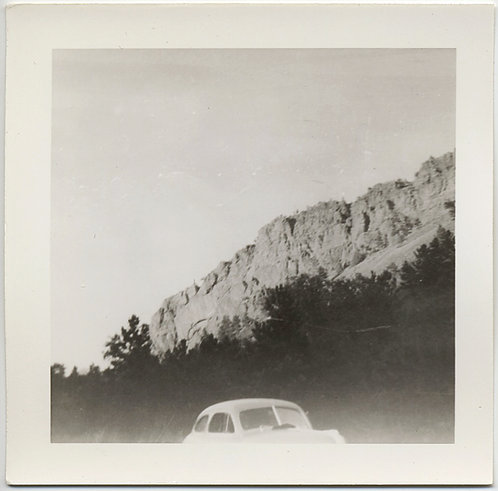 INTERESTING CROP COMPOSITION GLOWING WHITE CAR BANDS of DARK FOLIAGE MOUNTAINS