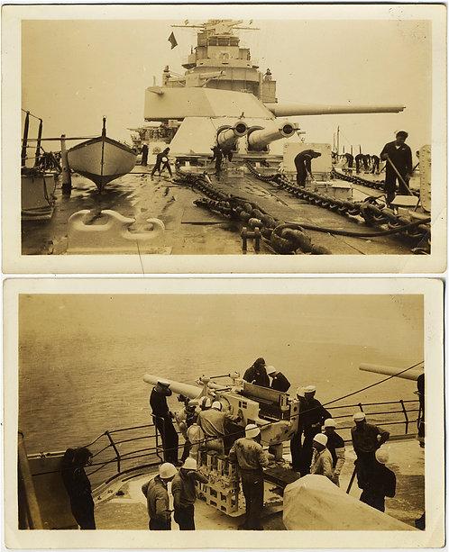 SAILORS SWAB CLEAN WWII DESTROYER DECK & GATHER AROUND BIG GUN PREPARE to FIRE