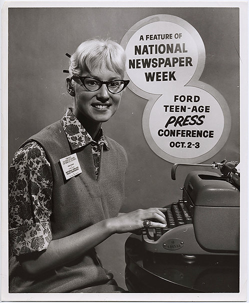 NERDY TEENAGE REPORTER at TYPEWRITER AD for NEWSPAPER TEEN PRESS CONFERENCE!