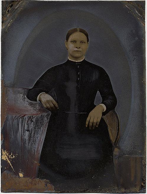 WONDERFUL FULL PLATE PAINTED TINTYPE SEATED WOMAN PORTRAIT FOLK ART
