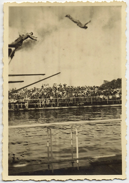 FULLY CLOTHED? MEN in DOUBLE DIVE into POOL WATCHED by SPECTATORS