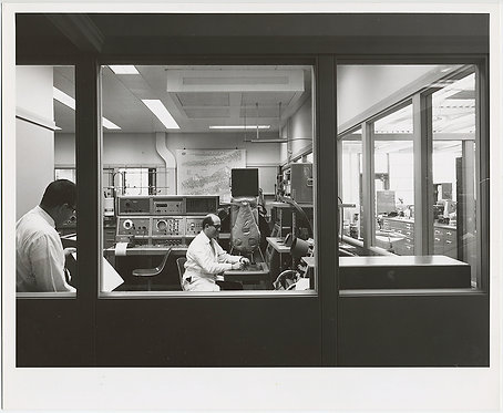 MEN in INDUSTRIAL RESEARCH LABORATORY SEEN through OFFICE WINDOWS