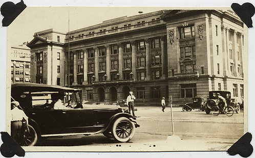BUSY URBAN INTERSECTION VINTAGE MODEL T CARS BICYCLIST DES MOINES? SALT LAKE CT?