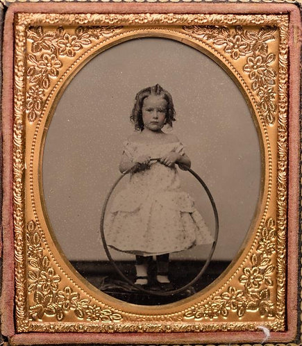 GORGEOUS AMBROTYPE! BEAUTIFUL YOUNG GIRL in RINGLETS with HOOP!