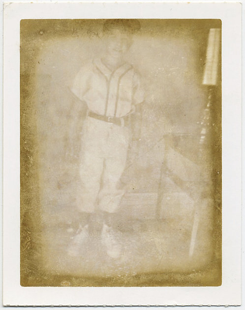 STUNNING DISTRESSED POLAROID FADED YOUNG BASEBALL PLAYER