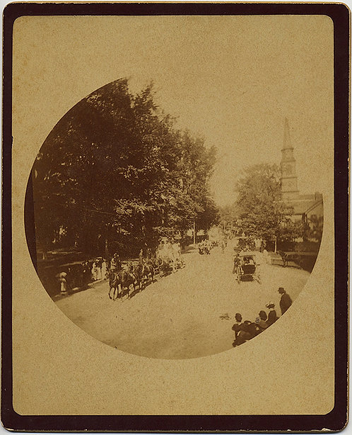EARLY ROUND KODAK NO 2 BUSY STREET w HORSE DRAWN CARRIAGE CHURCH