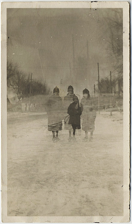 DOUBLE EXPOSURE! SNOWY LANDSCAPE and NEW DOLL BUGGY! ID'd & CAPTION