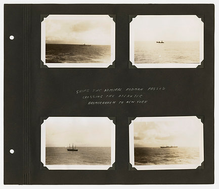 SUPERB MUSEUM QUALITY ALBUM PAGE WWII PASSING SHIPS NY HARBOR STATUE LIBERTY TUG