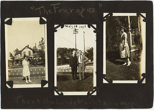"SUPERB ALBUM PAGE w GREAT ANNOTATIONS ""The Four of Us"" GRADUATION & PROM DRESSES"