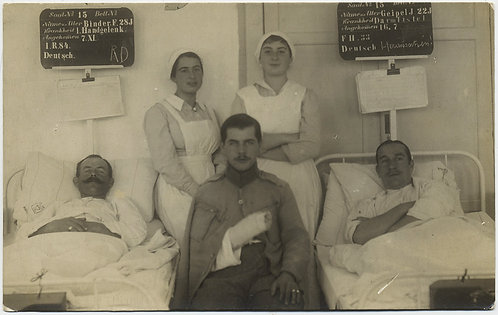 INJURED BANDAGED BEDRIDDEN WWI VETERANS in HOSPITAL w NURSES GERMAN?