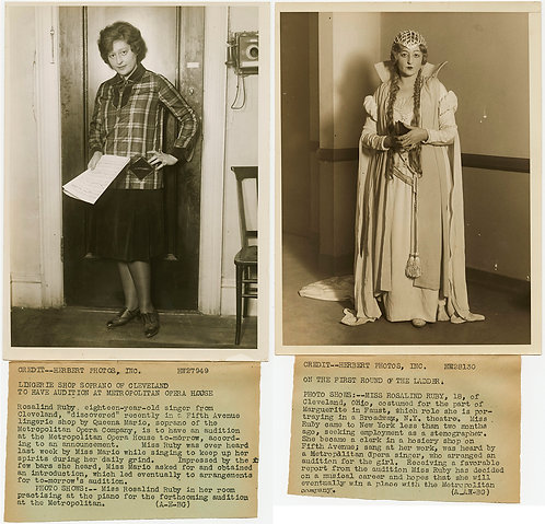 PRESS PHOTOS BEFORE & AFTER MIDWESTERN SHOPGIRL BECOMES OPERA DIVA Rosalind Ruby