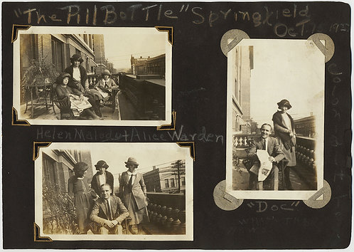 """LOVELY ANNOTATED ALBUM PAGE """"The Pill Bottle"""" SPRINGFIELD 1922 GROUP HANGS OUT"""