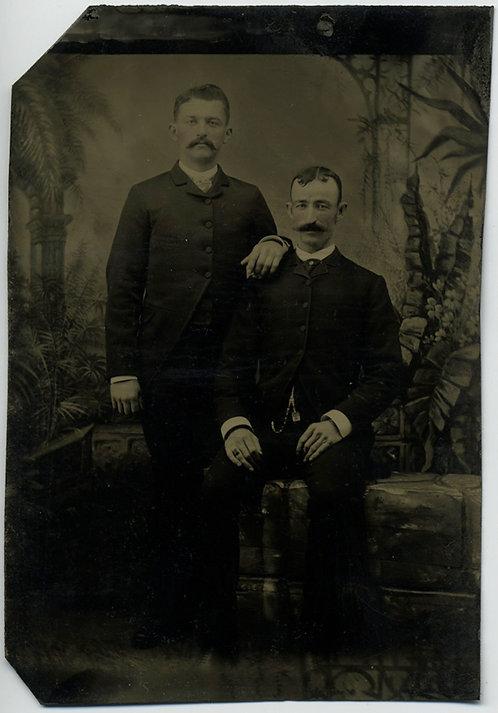 Two FORMAL MEN w. mustaches in STUDIO PORTRAIT