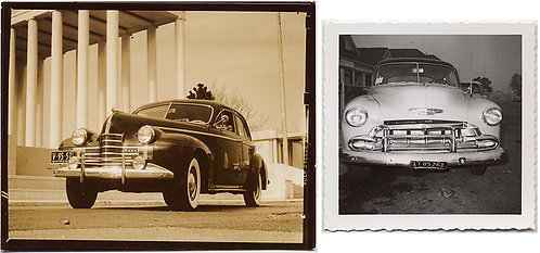 2 GREAT PICS VINTAGE CARS! CHEVY HEAD ON, and OLDSMOBILE at the WORLD'S FAIR