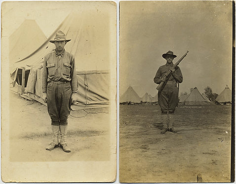 TWO WWI SOLDIERS DOUGHBOYS in CAMP w TENTS STAND to ATTENTION