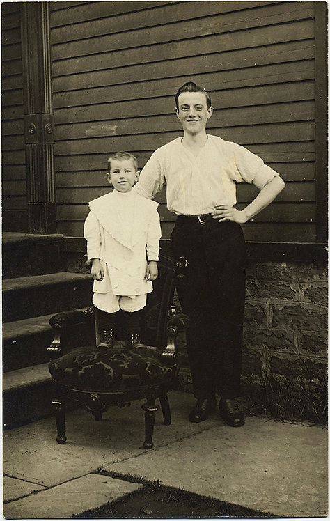 STUNNING RPPC of YOUNG MAN and his BROTHER?