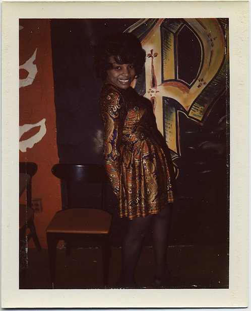 SUPER FUN SEXY BLACK WOMAN PRIMPS in AWESOME SATEEN DRESS for CAMERA POLAROID