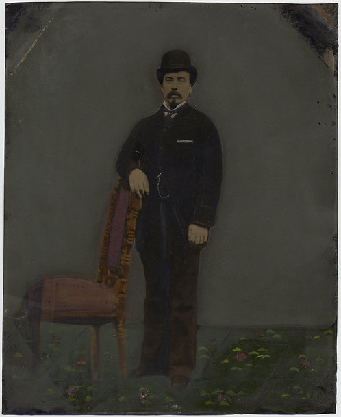 Painted Full Plate Tintype: Formal Man at Chair