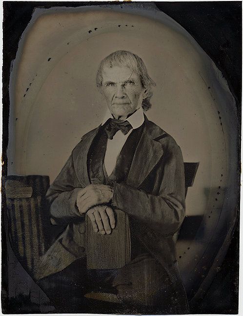 STRONG STUDIOUS MAN PORTRAIT FULL PLATE MINIMALLY HAND PAINTED TINTYPE
