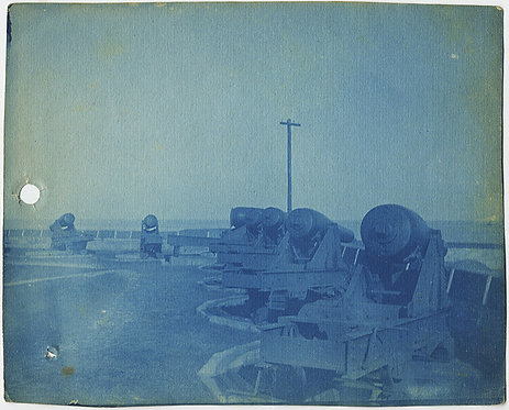 2 CYANOTYPES of FORT MONROE!  CANNON and CANNON BALLS!