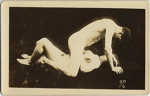 VINTAGE EROTICA RPPC NAKED NUDE MAN HAS SEX WITH WOMAN'S BREASTS GREAT GRAPHIC