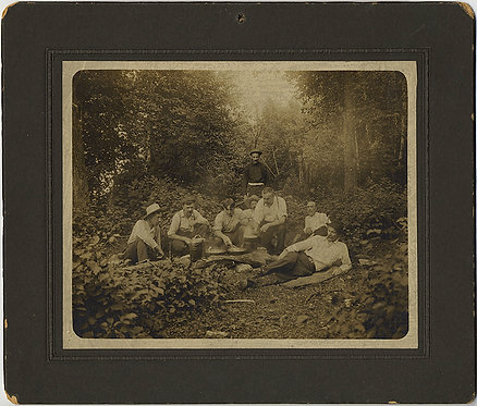 INTERESTING GROUP of MEN HUNTERS? COOK and CAMP in WOODLAND CLEARING!
