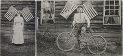 fp6555combo(RPPC_Woman-Man_AmericanFlags_House)