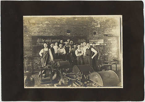 WONDERFUL GROUP INDUSTRIAL WORKER PHOTO on ALBUM PAGE w ASTOR THEATRE PLAYBILL