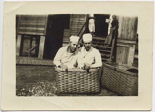 2 CHEF BAKERS POSE in WICKER WOVEN BASKET STRANGE UNUSUAL