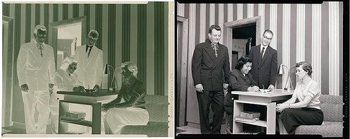 4X5 NEGATIVE MEN & WOMAN WATCH MINORITY WOMAN WRITE in ROOM w STRIPED WALLPAPER