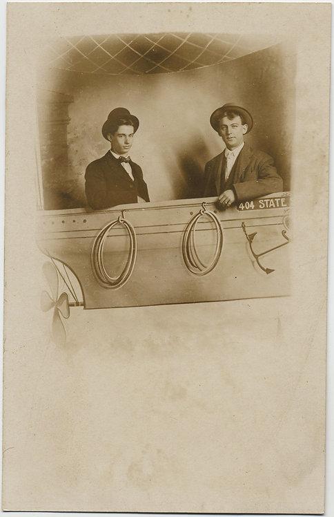 2 MEN in HOT AIR BALLOON BASKET ARCADE RPPC PAINTED STUDIO PROP PIC