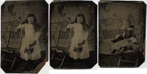 SWEET LITTLE BOY & GIRL in CUTE STUDIO PAINTED BACKDROP PORTRAITS 3 tintypes