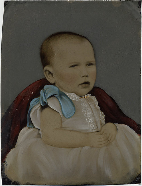 MAGNIFICENT INFANT FULL PLATE TINTYPE HAND PAINTED CHRISTENING DRESS BLUE BOW