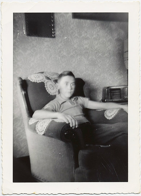 HAUNTING PORTRAIT of YOUNG BOY in EASY CHAIR CORCHETED ANTIMACASSARS