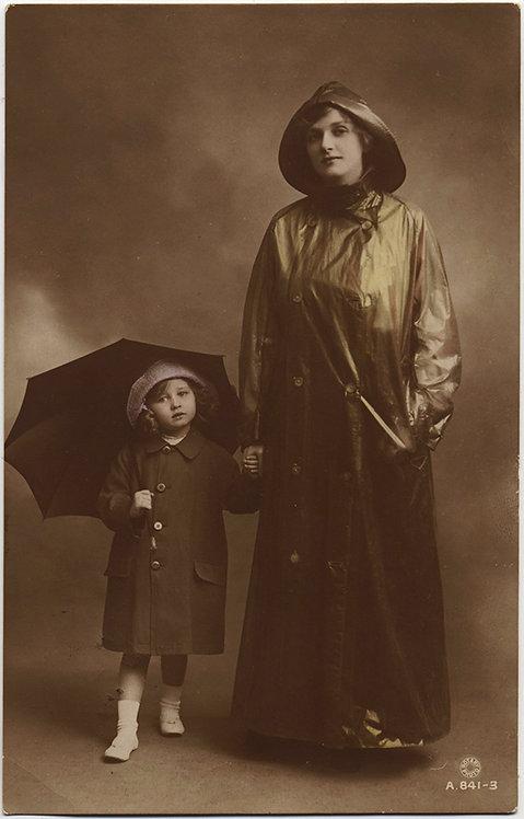 MOTHER & DAUGHTER? ODD RPPC in WINTER RAIN GEAR UMBRELLA Gladys Cooper Baby Joan
