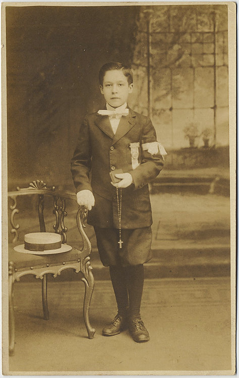 LOVELY RPPC COMMUNION BOY in ORNATE BACKDROP PHOTO STUDIO PORTRAIT STRAW HAT