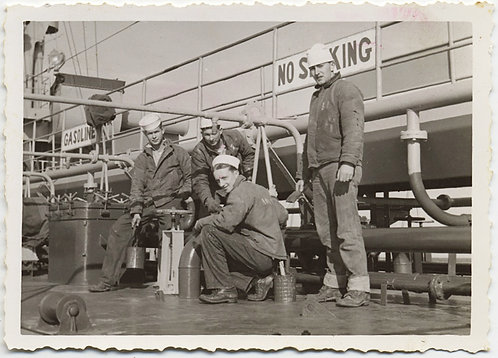 HANDSOME SAILORS DO MAINTENANCE PAINT etc. ON DECK SHIP SIGNAGE No Smoking Gas