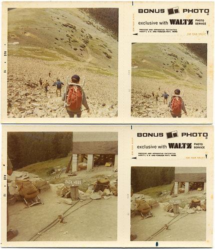 HIKERS TREKKERS MOUNTAIN CLIMBERS REST PACKS & DESCEND ROCKY SLOPE BONUS PICS