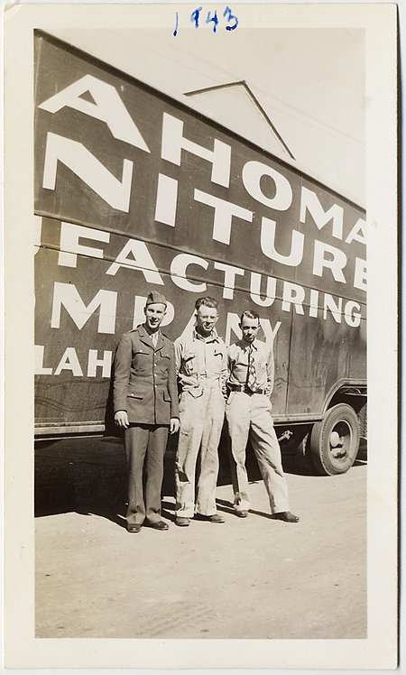 SEXY SERVICEMEN in UNIFORMS in front of HUGE TRAILER w BILLBOARD LETTERING 1943