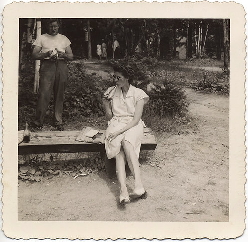 """WOMAN DRINKS COKE on PARK BENCH at the """"other:"""" GRAND CANYON PINE CREEK GORGE PA"""