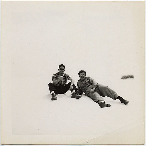 SAMMY & WILLIE RELAX on WHITE SAND DUNE in STARK PORTRAIT