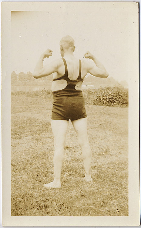 "OLD MAN ""Dad Oram"" FLEXES MUSCLES in VINTAGE BATHING SUIT!"