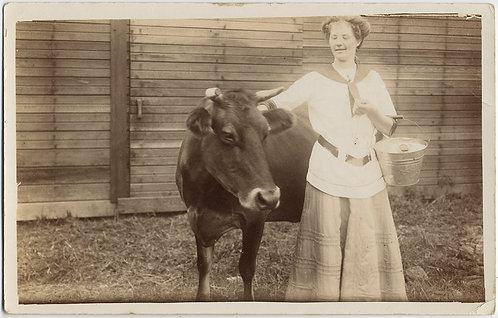GORGEOUS RPPC GLOWING WOMAN w MILK PAIL and HAPPY COW