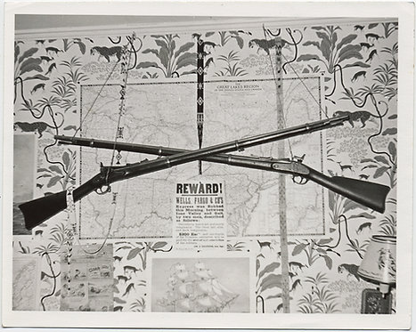 CROSSED RIFLES WALLPAPER NATIVE AMERICAN ARTIFACTS REWARD POSTER WELLS FARGO