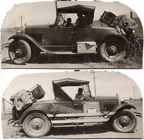 FROM BOTH SIDES NOW MODEL A? FORD LOADED for TRIP PHOTOGRAPHED LEFT & RIGHT