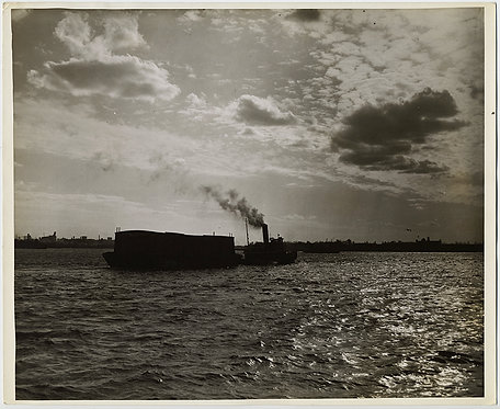PRESS PHOTO STUNNING SEA CLOUDS STEAM TUG BOAT & CARGO in NY HARBOR HUDSON RIVER