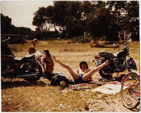 BIZARRE BIKER in SPEEDO UNDERWEAR SPREADS LEGS EXPOSING BULGE