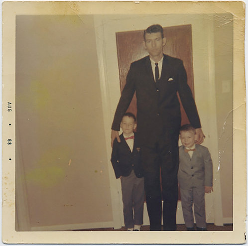 SUPER TALL GIANT DAD TOWERS in SUIT & 2 LITTLE BOYS SONS in FORMAL WEAR BOW TIES