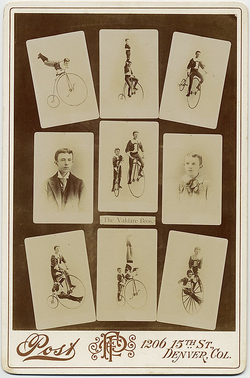 SUPERB! EARLY BICYCLE TRICK PERFORMERS! The Valdare Brothers!